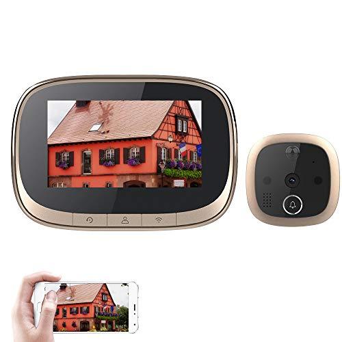 Funien Videoportero, 4.3    WiFi Smart LCD Door Camera Viewer con Mirilla Digital Monitor HD con visión Nocturna PIR Detección de Movimiento Intercomunicador Amplio ángulo de visión