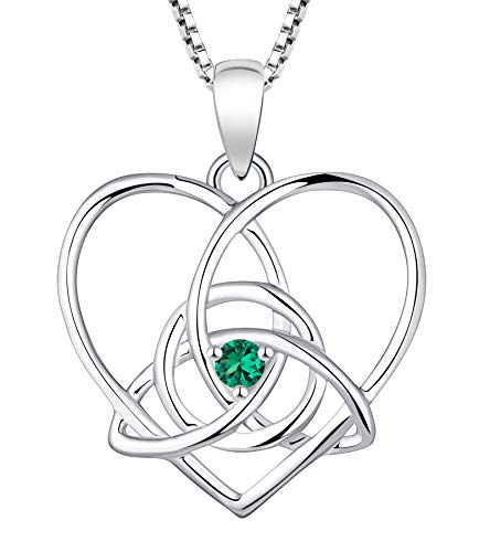 YL Celtic Knot Necklace 925 Sterling Silver Heart Infinity Pendant Created Emerald Trinity Love Knot Jewelry