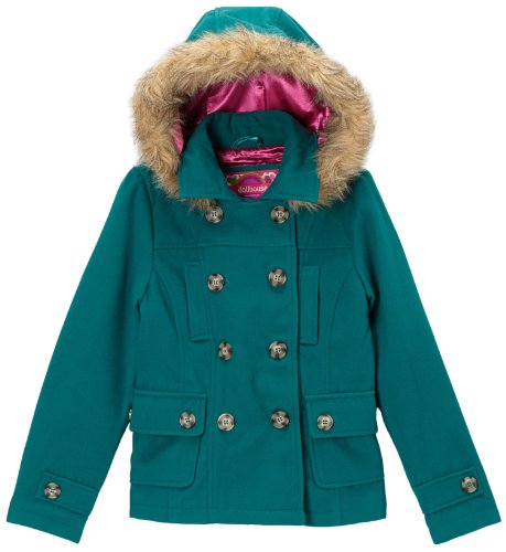 dollhouse Toddlers and Girls Double Breasted Hooded Peacoat Jacket - Teal Green (Size 4)