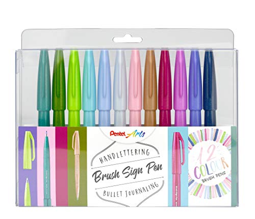 """Pentel - Pennarello con punta simile a pennello """"Brush Sign Pen"""", SES15C-12 12 assortiti"""