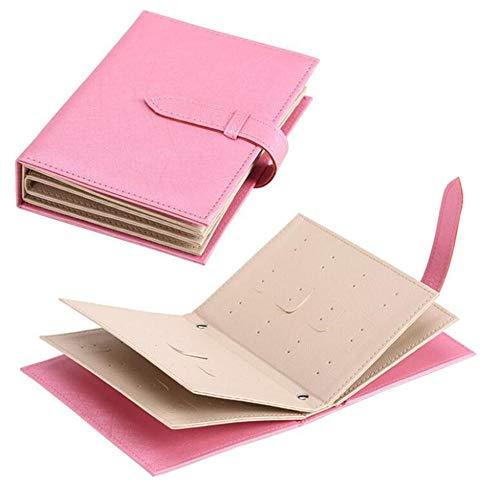 BEI&YANG Lovely Notebook Diary Design Orecchino Ear Stud Display Holder, Organizer Scatola di Immagazzinaggio in Pelle Confezione Regalo da Donna per Gioielli@Rosa