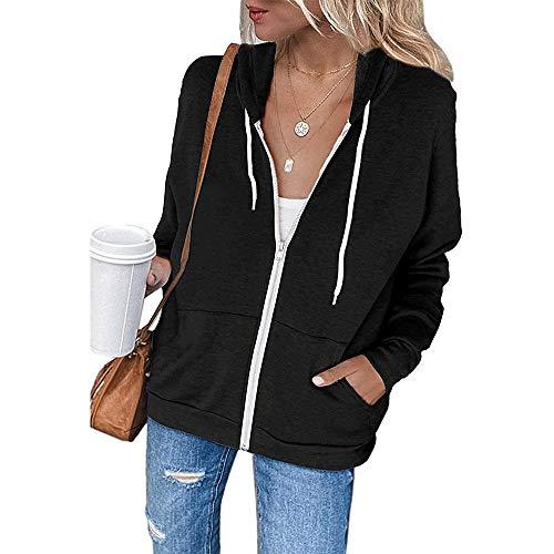 OrientalPort Sweatjacke Damen Hoodie Sweatshirt Jacke Casual Langarm Sweatshirt Leicht Kapuzenjacke Einfarbig Reißverschluss Tops