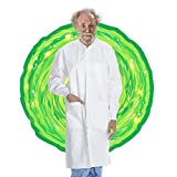 AMZ White Disposable Lab Coats. Pack of 10 Disposable Lab Gowns Medium. 40 gsm SMS Dental Isolation Scrubs Gown. Unisex Adult Lab Coat White with Long Sleeves, Knit Collar, Knit Cuffs, 3 Pockets.