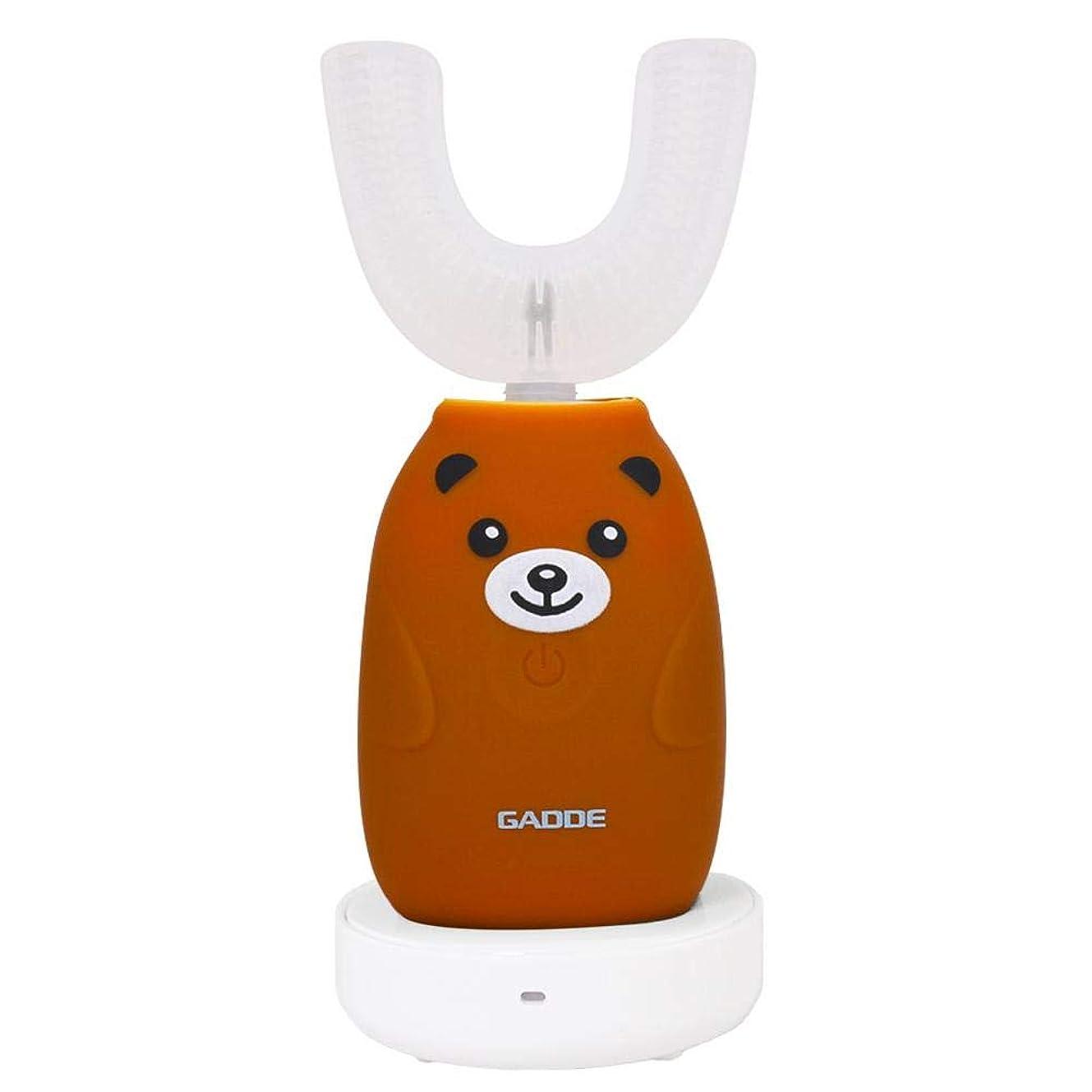 着飾る削減霜子供の電動歯ブラシ、漫画のBlu - ray 360°U字型ソフトシリコーン電動歯ブラシ防水ワイヤレス充電口腔クリーナーブラシ2-12年の子供のための