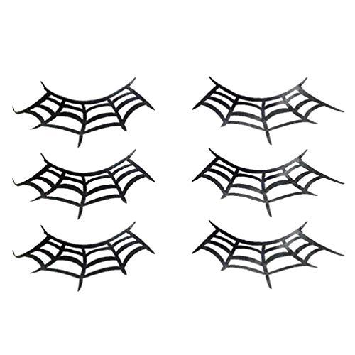 PIXNOR 3 Pares de Cílios de Papel de Teia de Aranha Negra Halloween Extensões de Cílios Falsos Halloween Cílios Postiços
