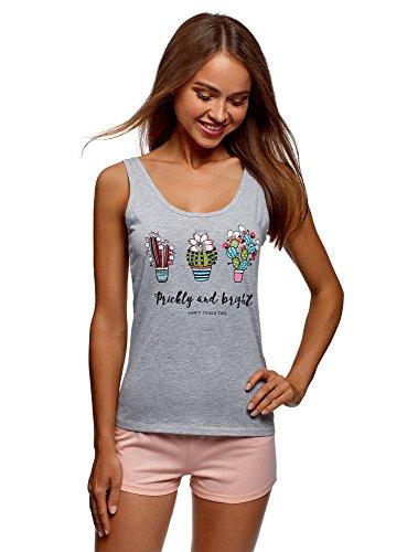 oodji Ultra Mujer Pijama de Algodón con Estampado, Gris, ES 38 / S