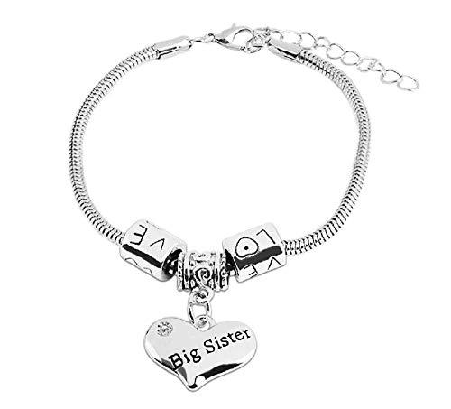 Groot - vriendschap - oudere zus - armband - familie - motiverend - hart - hanger - man - vrouw - unisex - zilveren kleur - sieraden love big sister