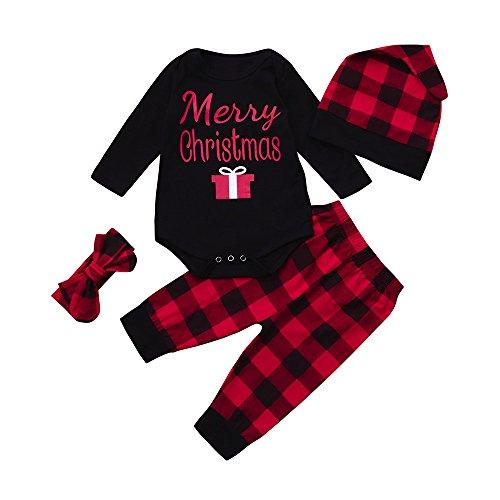 4 STKS Pasgeboren Meisjes Jongens Meisje Kerst Herten Cartoon Print Lange Mouw Tops+ Broek + Hoed + Haarband Outfits Kleding Set