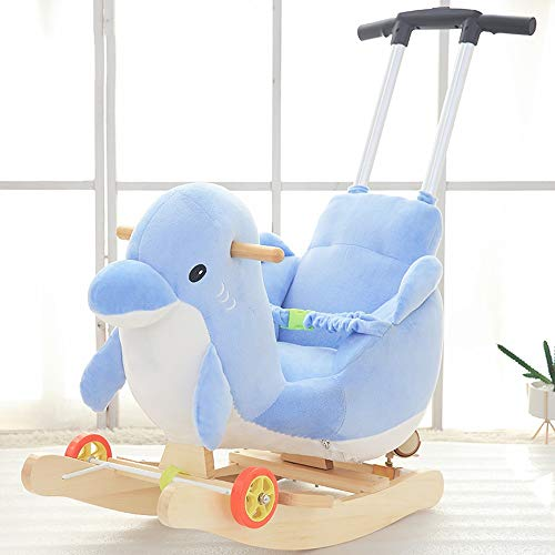Learn More About Kibten Baby Rocking Horse, Wooden Plush Rocker Toy Blue Penguin Kids Ride on Toy To...