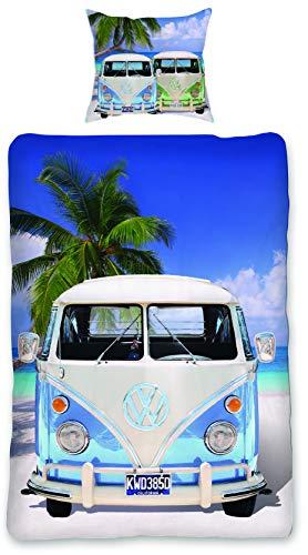 SkyBrands Bettwäsche VW Bulli 135x200 T1 Oldtimer Geschenk Männer VW Bus Camping Bettbezug Volkswagen Baumwolle Deutsche Größe