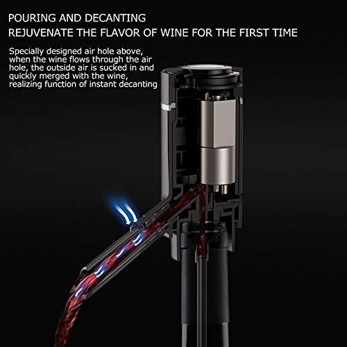Ein-Knopf-Bedienung Multifunktionaler Weinspender Schwarzweinbelüfter für die meisten Weinflaschen für Abendessen zu Hause, unterwegs - 9