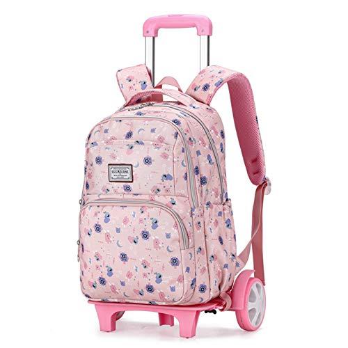 Kids Suitcases on Wheels School Bag - Primary Children School Rolling Trolley Backpacks Waterproof Nylon Kids Luggage,Pink,B