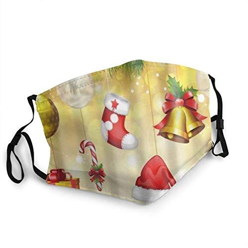 YYTT8 Gesichtsschutz Mundschutz Nasenschutz Wiederverwendbar Waschbar Gesichts Schals Mit Filtern Frohe Weihnachten Fantasie Weihnachten Strumpf Geschenk Ingwer Keks Neujahr