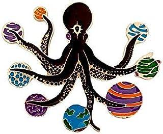 Octopus in space polpo tentacoli spazio pianeti magic enamel Pin spilla