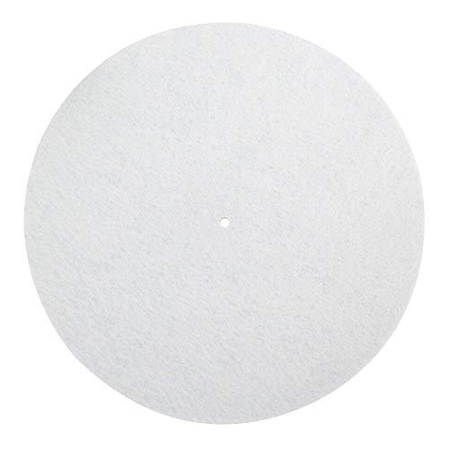 Plattenspieler-Matte Home Protective Volle Disc aus künstlicher Wolle Reduzieren Sie Vibrationen Faltbare Plattenspieler-Teile Stabiler Ersatz Einfach Anwenden Effektives Praktisches DJ-Pad(Weiß)