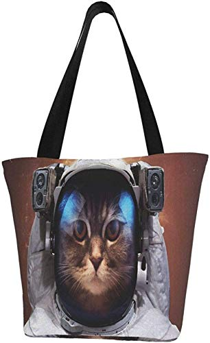 Canvas Tote Bags for Women with Zip,Cat in Space Galaxy Handbags Shoulder,Big Capacity Shopping Bag,College Bookbag for Girls,Printed Travel Beach Hobo Bags for Ladies