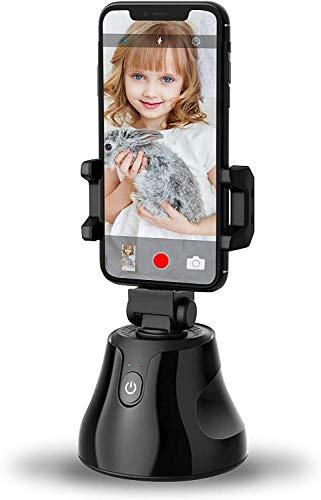 Cxjff Selfie-Stick 360 Umdrehung Smart-Schießen Gimbal Roboter Schwenker Auto Face Tracking Objektverfolgung Halter, AI-Zusammensetzung Pivo Kamera-Stativ for Telefon und Kamera (Schwarz) Im Anschluss