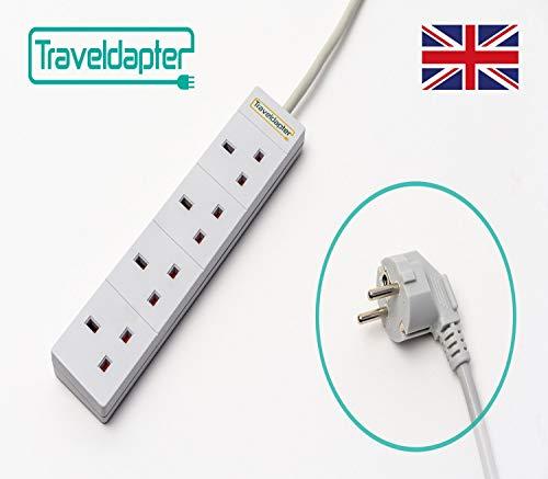 Reise Adapter Europa Netzsteckerleiste Multi Safe Verlängerungskabel 7 Eingänge Ultrakompaktes Kabel für Urlaub 2-poliger geerdeter Typ F-Stecker 3 Typ G-Buchsen 4 USB-Anschlüsse 1.5 m Weiß