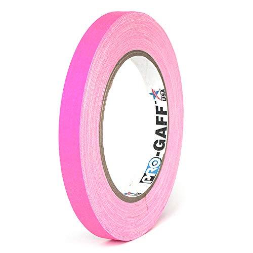Pro Tapes Permacel Pro-Gaff Fluoreszierendes Gaffer-Tuchband, 12 mm breit, 23 m lang, Klebeband fluoreszierendes pink