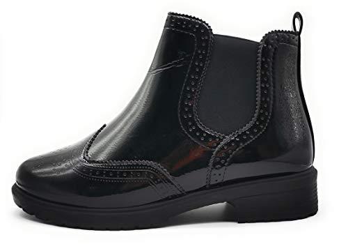 Damskie botki ze sznurowaniem, klamra, elastyczne, czarny - czarny skóra lakierowana - 38 EU