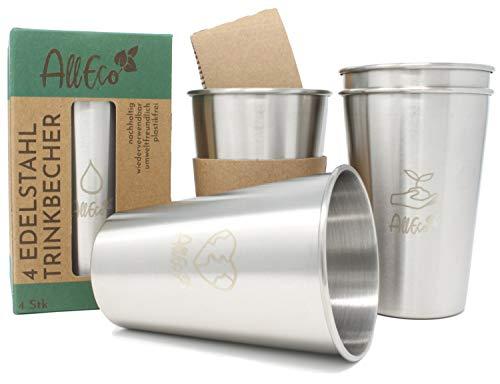 AllEco® Edelstahl Becher 4er Set 500ml Trinkbecher Metall Kinder Camping Outdoor 17oz stapelbar - nachhaltig, wiederverwendbar, plastikfrei & Zero Waste (500ml)