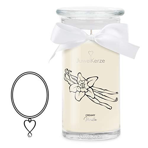 JuwelKerze Creamy Vanilla große Duftkerze (Vanille, 1020g, 95-125 Std. Brenndauer) in Beige mit 925er Sterling Silber Schmuck, Halskette