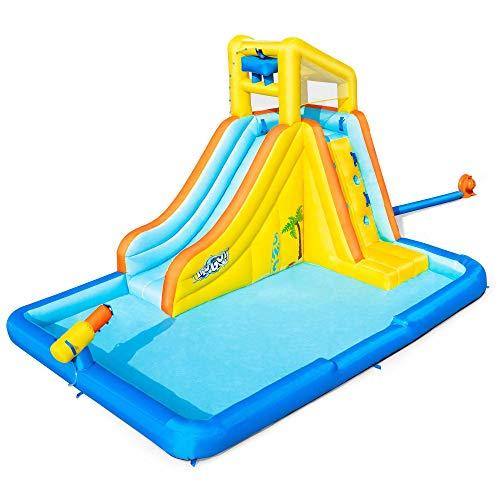 H2OGO! Beachfront Bonanza Kids Inflatable Outdoor Backyard Mega Water Slide Splash Park Toy with Slide, Climbing Wall, Sprayer, and Kiddie Pool -  Bestway, 53350E-BW
