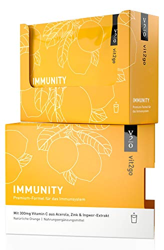 Vit2go IMMUNITY (10 Sachets) - Booster mit Vitaminen (A, B, C, D & K), Zink & Ingwer-Extrakt, Vitamin C & Zink tragen zur normalen Funktion des Immunsystems bei, Nahrungsergänzungsmittel, vegan, Made in Germany
