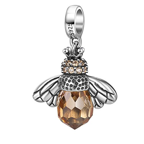 Hoobeads 925 Sterling Silver Dangling Orange Crystal Queen Bee Charm Bead Fits Pandora Bracelet by Sterling Silver Pendant