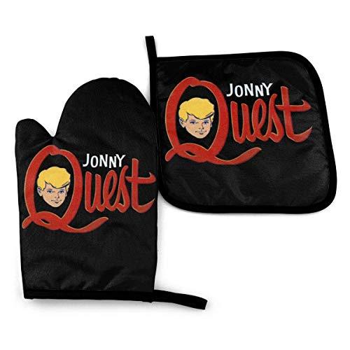 FGHJY Jonny Quest Topflappen Set Hitzebeständige Ofenhandschuhe. Ofenhandschuhe zum Grillen Kochen Backen, Grillen. Ein isolierter Handschuh und eine Deckelmatte