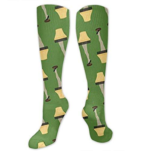 zhouyongz Navidad retro lámpara de pierna en verde atlético tubo medias mujeres hombres deporte calcetín largo