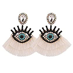 White Geometric Fringed Multicolor Drop Earring With Rhinestones