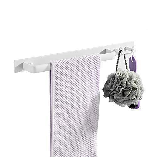 Toallero de baño con 2 Gancho, Adhesivo/Sin Taladrar, Blanco, 42cm