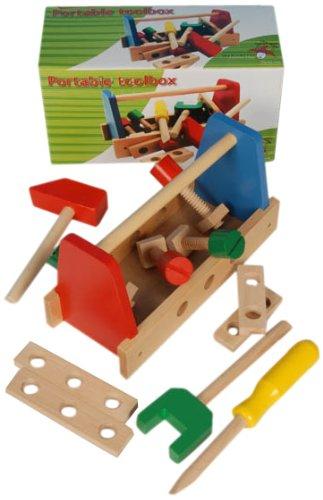 Marionnette Wooden Toys - 44036 - Jouet de Premier Age - Jouet d'éveil - Boîte à Outil en Bois x16