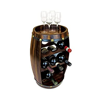 Wine Rack Freestanding Wooden Barrel Shape Hold 8 Bottles - Wine Décor Holder Storage Furniture Accessory 19.3 x10.4  For Home, Kitchen, Bar, Living Room - Counter Top or Floor Stand - Alexander #9420