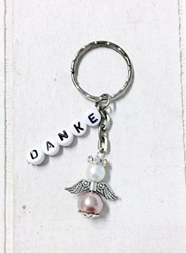 Buntermix Schlüsselanhänger Schutzengel mit Danke oder mit Namen personalisiert, Gastgeschenk, Taufe, Hochzeit (Engel klein Taupe-weiß Silber)