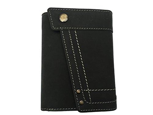 Edle Damen Geldbörse Portmonnaie Geldbeutel aus weichem Wasserbüffel Leder (schwarz)