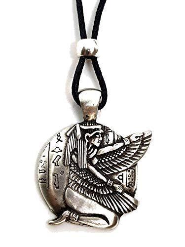 Eclectic Shop Uk Egipcio Arrodillada con Alas ISIS Diosa Suerte Colgante con Cuentas Cordón Collar