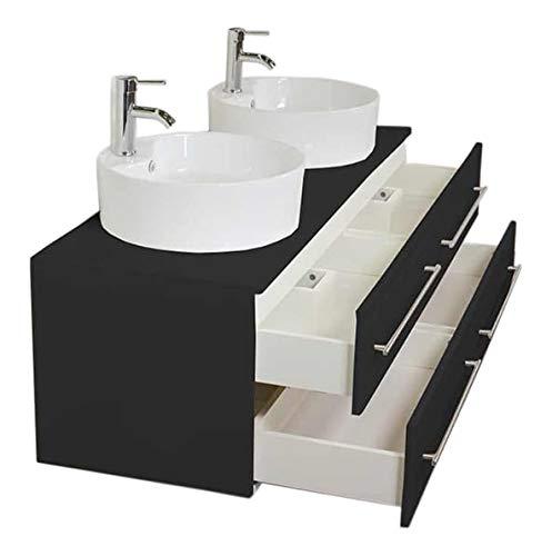 emotion Badmöbel Novum XL schwarz seidenglanz mit Aufsatzwaschbecken