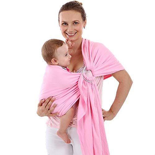 DZSF Porte-Écharpe Porte-Bébé Souple pour Bébé Wrap Nouveau-Nés Respirant Wrap Hipseat Allaiter Naissance Nursing Confortable Couverture,Rose