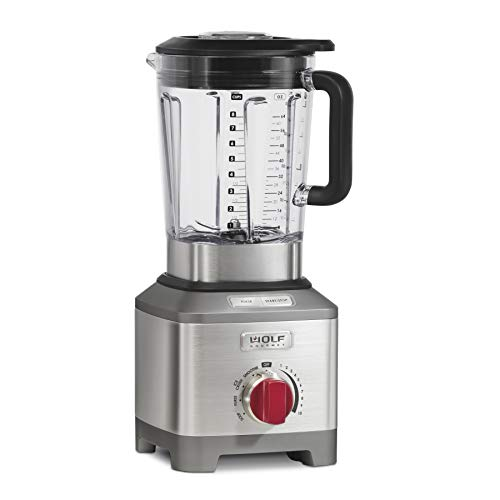 Wolf Gourmet Pro-Performance Blender, 64 oz Jar, 4 program settings, 12.5 AMPS, Blends Food, Shakes and Smoothies, Red Knob, Stainless Steel (WGBL200S)