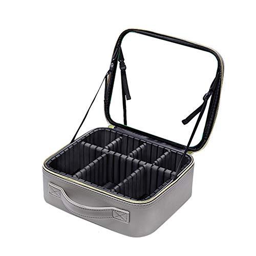 DOUDOU Travel Make-up Bag Premium Lederen Make-up Case Cosmetische tas met Spiegel Draagbare Opbergtas voor Toilet, Sieraden, Cosmetica