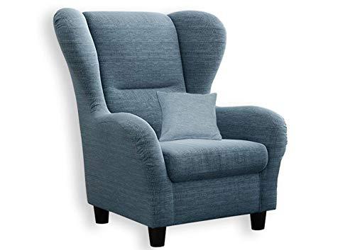 lifestyle4living Ohrensessel in blau im Landhausstil   Der perfekte Sessel für entspannte, Lange Fernseh- und Leseabende. Abschalten und genießen!