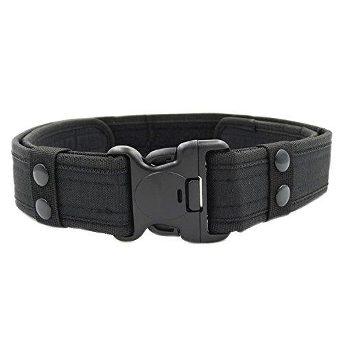 MESHIKAIER Hombre Nylon Cinturón Adjustable Militar Táctico Cinturón Policia Cinturón Outdoor Deport Cinturón + Plastico Hebilla (Black)