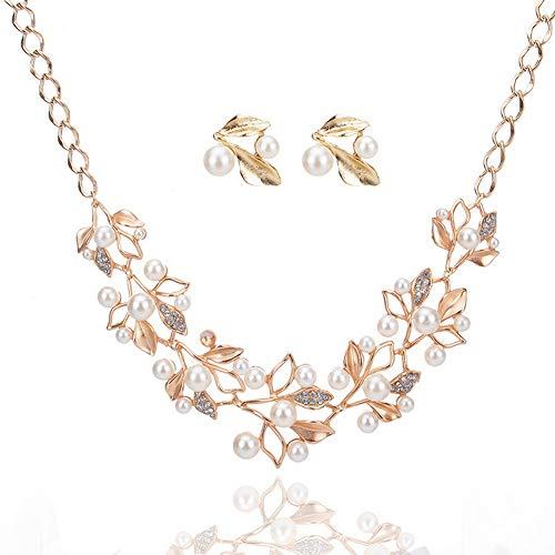 Yazilind Kristall Kette Chunky Statement Perle Lätzchen Blätter Blume Form Ohrringe Halskette Schmuck Set