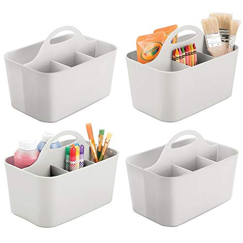 mDesign Plastic Portable Craft Storage Organizer Caddy Tote, Divided Basket Bin for Craft, Sewing, Art Supplies - Holds Paint Brushes, Colored Pencils, Stickers, Glue, Yarn - Small, 4 Pack - Gray