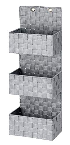 WENKO Organizer Adria Grau zum Hängen 3 Etagen - Badkorb, 3 Etagen, Polypropylen, 25 x 72 x 15.5 cm, Grau
