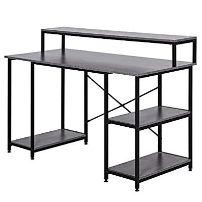 HOMCOM Office Home Computer Desk Workstation with Side Storage Shelves & Durable X-Shaped Construction by