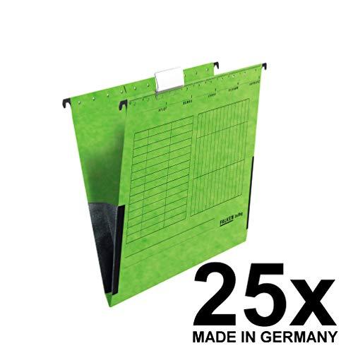 Original Falken 25er Pack Hängetasche UniReg. Made in Germany. Aus Recycling-Karton für DIN A4 mit Leinenfröschen grün Blauer Engel ideal für die lose Blatt-Ablage im Büro und der Behörde