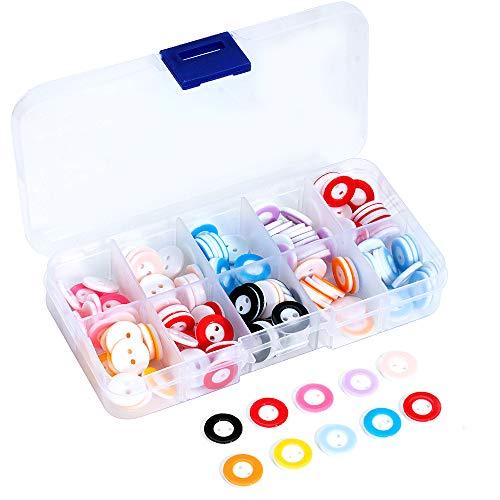 Lidiper Botones Costura de Colores, 150 Piezas Botones Redondo de Resina Botones de Ropa de Bebé Infantil 2 Agujero para Manualidades de DIY Coser Artesanía